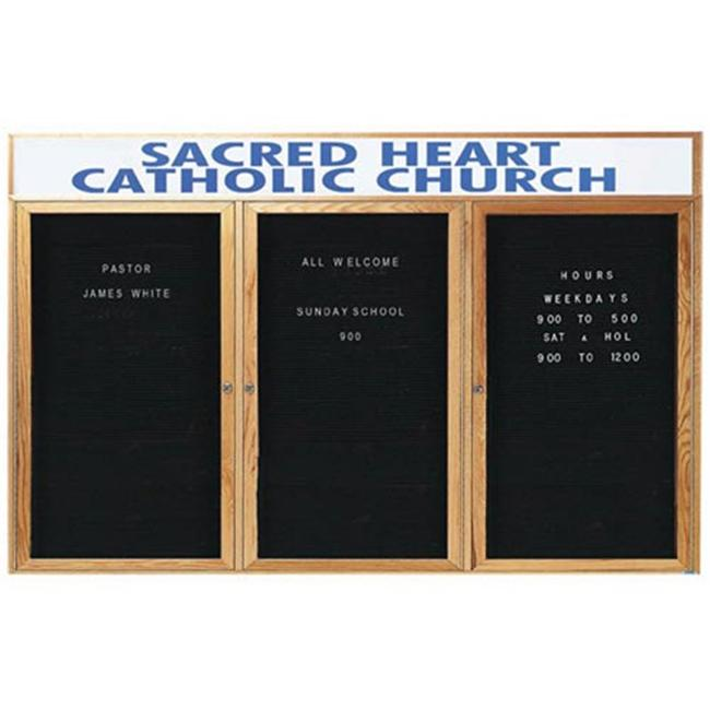 Aarco ODC4896-3H 3-Door Enclosed Changeable Letter Board with Header Oak Frame by Aarco Products Inc