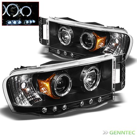 2002 2005 Dodge Ram Twin Halo Led Projector Headlights Black Head Lights Lamp Pair Left Right 2003 2004