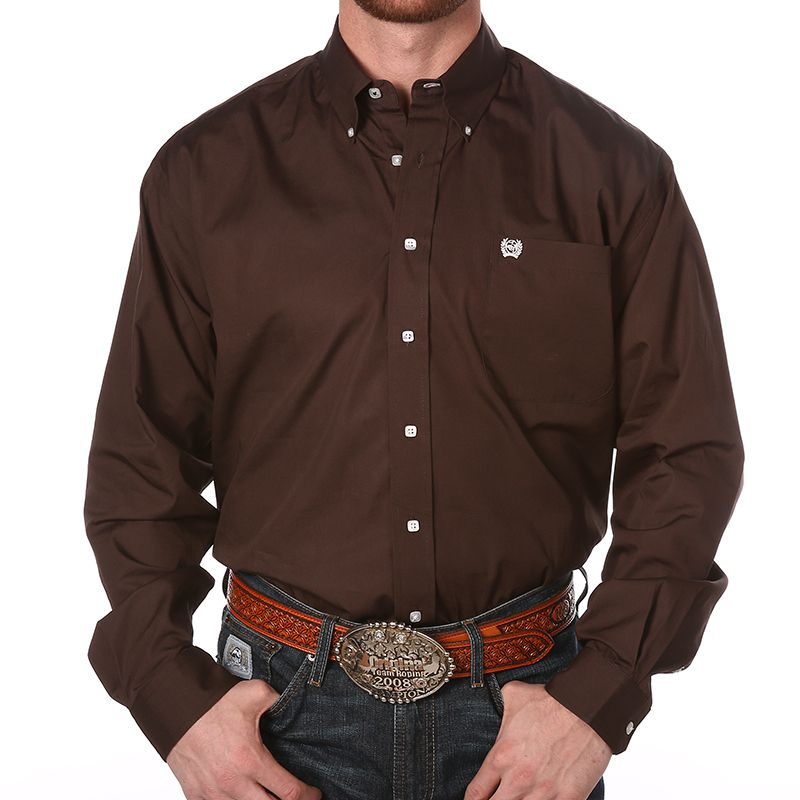 Cinch Apparel Cinch Apparel Mens Brown Pinpoint Oxford Long Sleeve