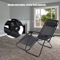 HURRISE Portable Folding Outdoor Camping Lounge Beach Garden Recliner Reclining Chair with Armrest, Folding Reclining Chair, Outdoor Folding Recliner