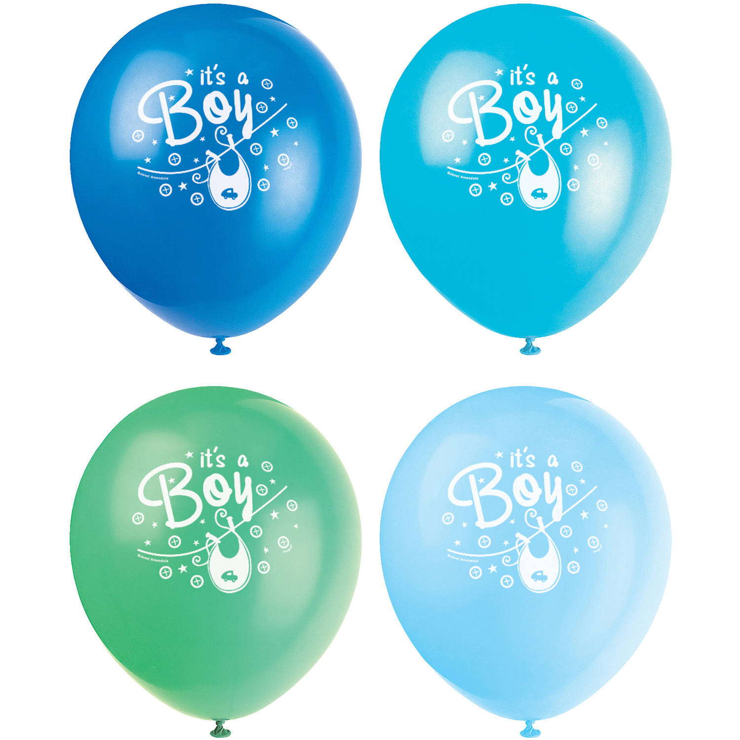 Latex Clothesline Blue Baby Shower Balloons, 12 in, Assorted, 8ct