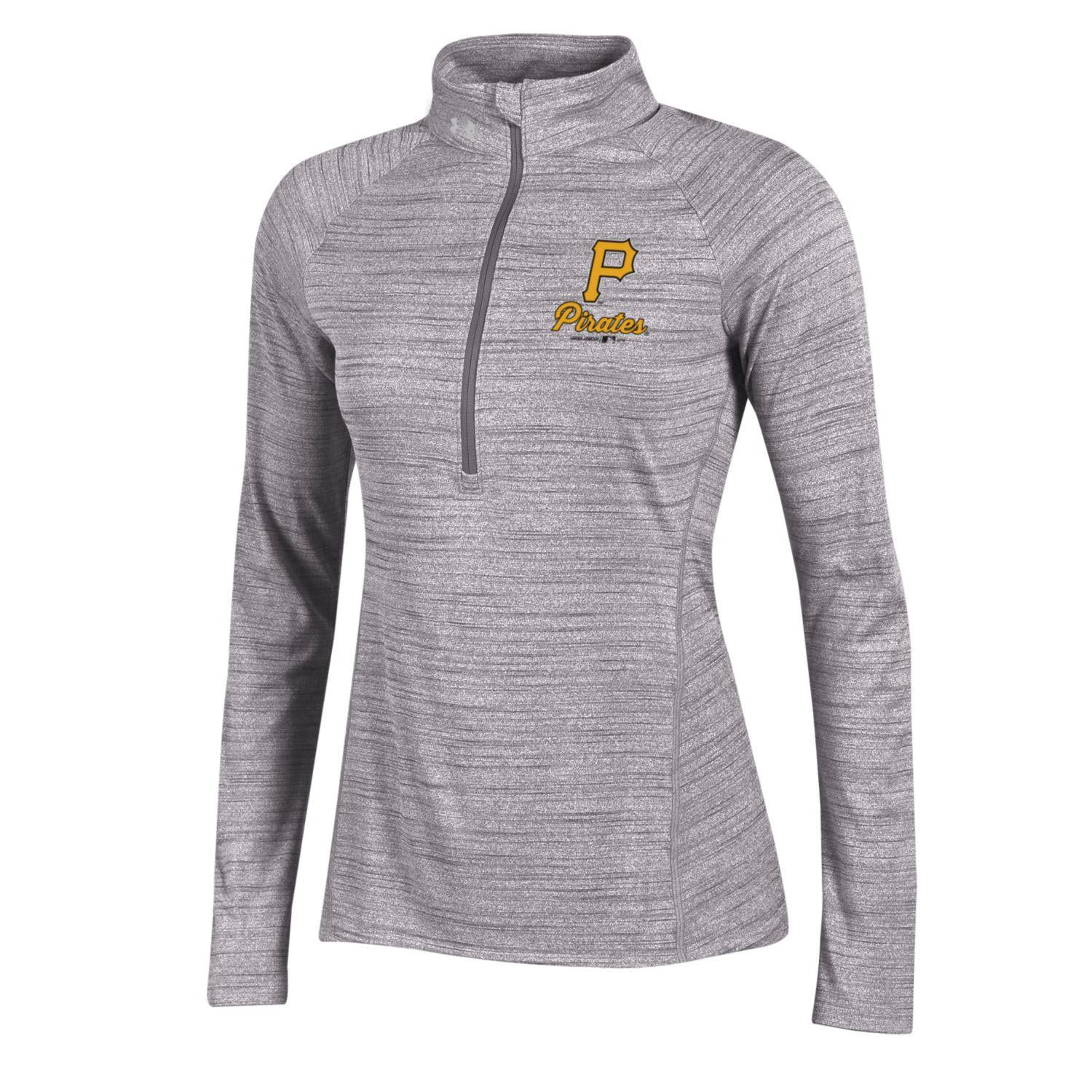 Pittsburgh Pirates Under Armour Women's Space Tech Performance Half-Zip Jacket - Heathered Gray