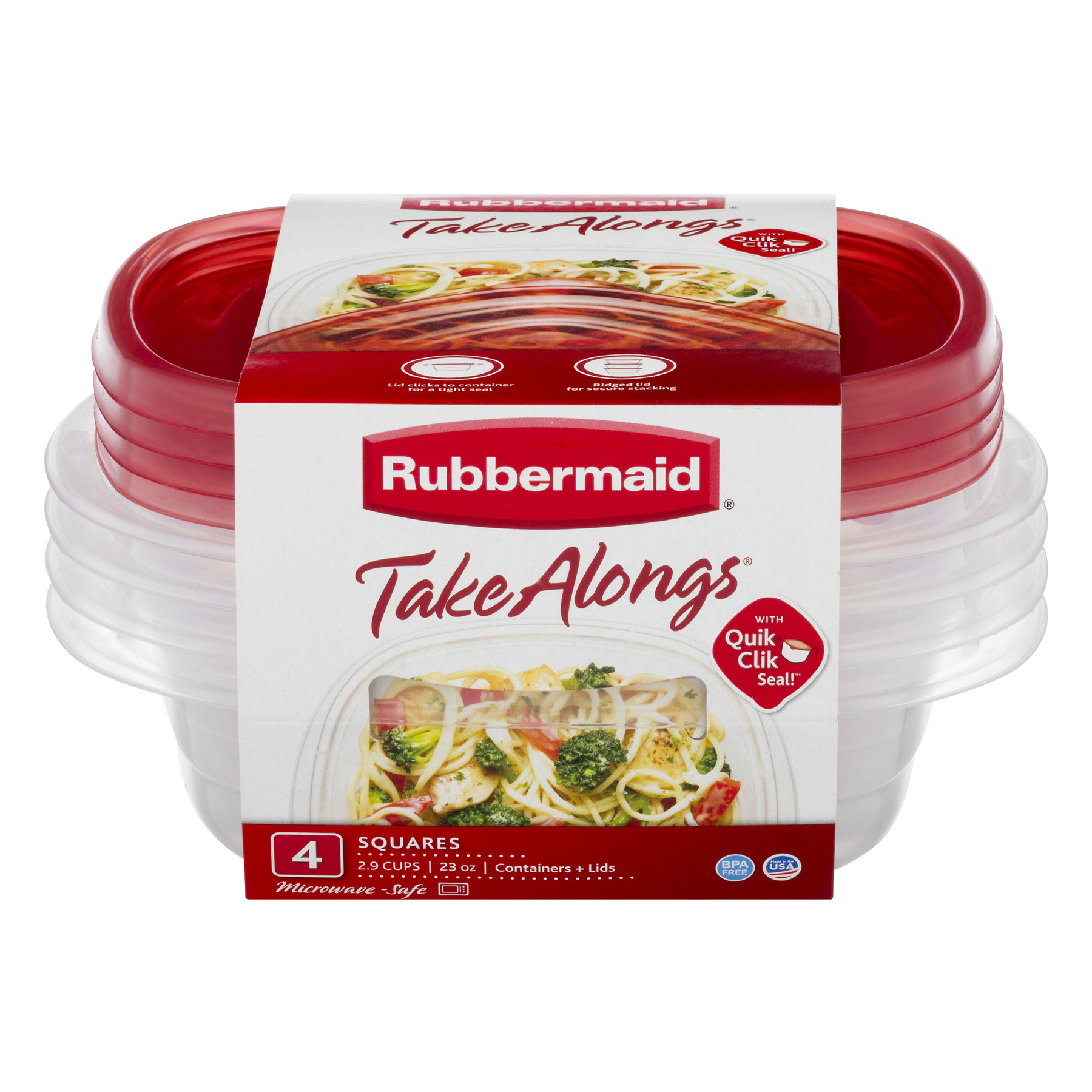 Rubbermaid Take-Along Square, 4-Pack