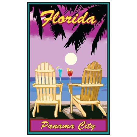 Panama City Florida Adirondack Chairs Palms Punch Giclee Art Print Poster by Joanne Kollman (12