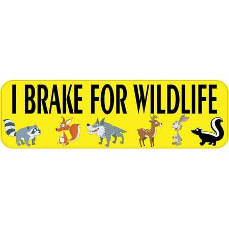 """10"""" x 3"""" I Brake for Wildlife Bumper Sticker Decal Vinyl Window Stickers Decals"""