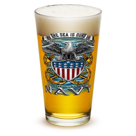 Glassware For Beer (Pint Glasses – United States Navy Gifts for Men or Women – US Navy American Beer Glassware – Full Print Eagle Glass with Logo (16 Oz))