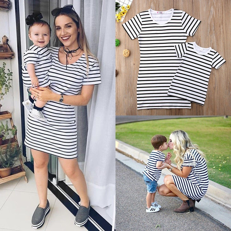 Mother Daughter Summer Striped Dress Family Matching Women Kid Girls Clothes New