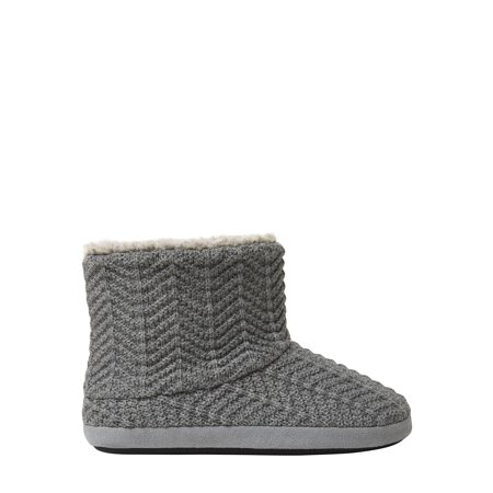 DF by Dearfoams Women's Textured Knit Bootie with Plush Lining slippers Cable Knit Slipper Boots