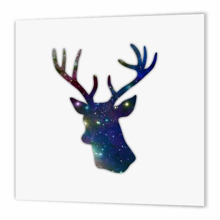 Star Wars Iron On Transfers - 3dRose Deer stag head silhouette of dark blue outer space stars galaxy, Iron On Heat Transfer, 8 by 8-inch, For White Material