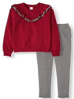 Wonder Nation Fashion Sweatshirt and Legging, 2-Piece Outfit Set (Little Girls, Big Girls & Girls' Plus)