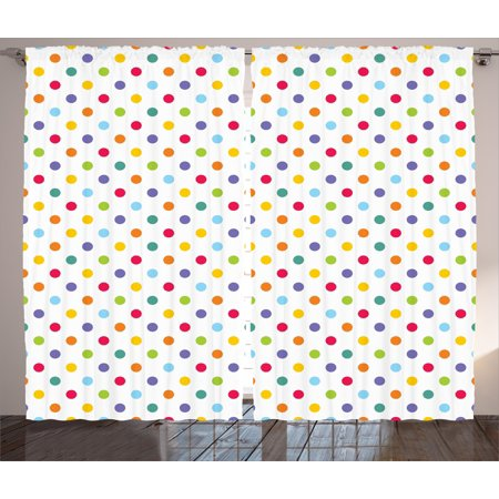 Abstract Curtains 2 Panels Set, Colorful Polka Dots Round Circular Vintage Fashion Girls Feminine Baby Design, Window Drapes for Living Room Bedroom, 108W X 108L Inches, Multicolor, by Ambesonne ()