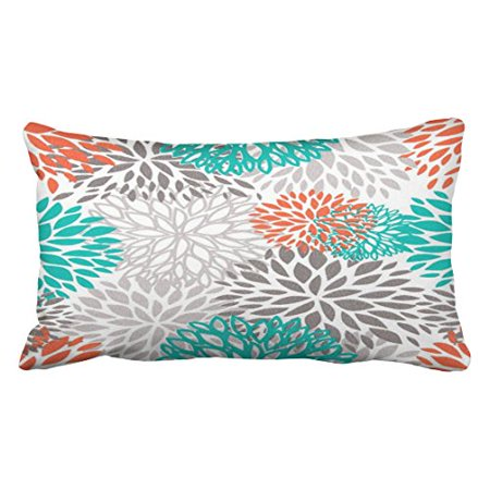 WinHome Decorative Orange Gray And Turquoise white Throw pillow Case Size 20x30 inches Two Side
