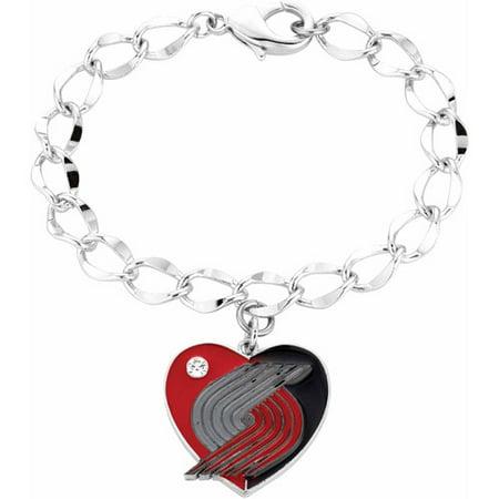 NBA Women's Swarovski Crystal Fine Silver-Tone Portland Trail Blazers Heart Charm Bracelet
