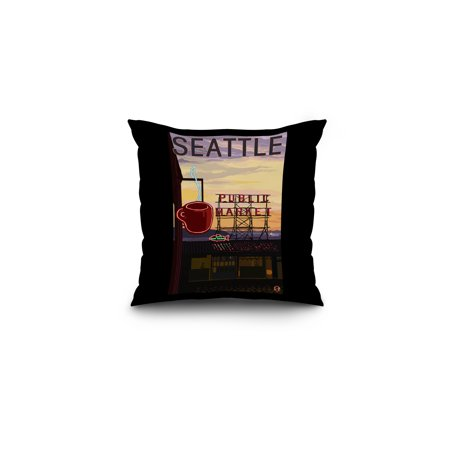 Seattle  Washington   Pike Place Market Sign   Water   Lantern Press Artwork  16X16 Spun Polyester Pillow  Black Border