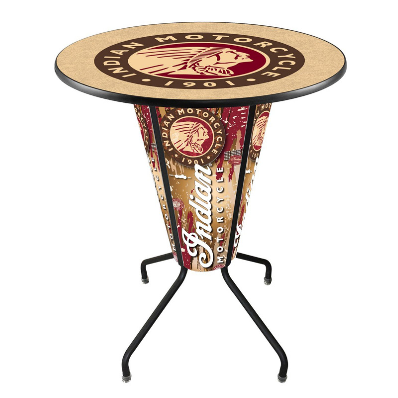 Holland Lighted Indian Motorcycle Pub Table with Logo Top