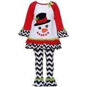 Baby Girls Red Black White Chevron Snowman Legging Set 12-24M