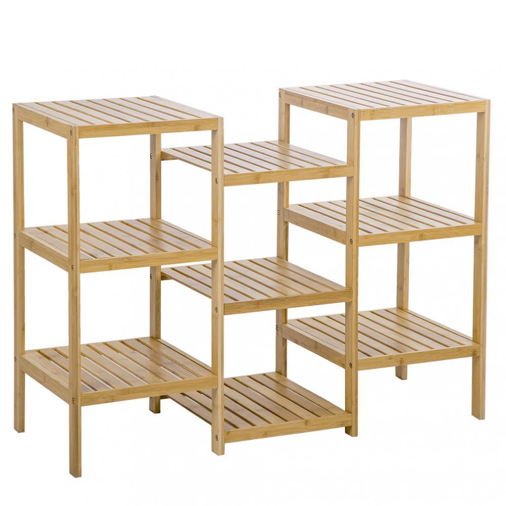 Bamboo Storage Shelf Rack Plant Display Stand 9-Tier Rack Unit by