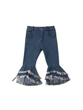 f9565ec2b84 Product Image Kids Girls Denim Look Leggings Flared Button Closure Tassel  Jeans Elastic Waist Denim Pants
