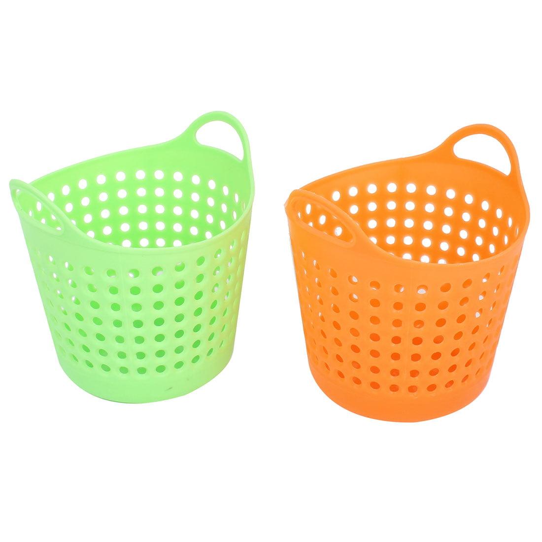 Desktop Green Orange Plastic Storage Basket Container Holder 2 Pcs