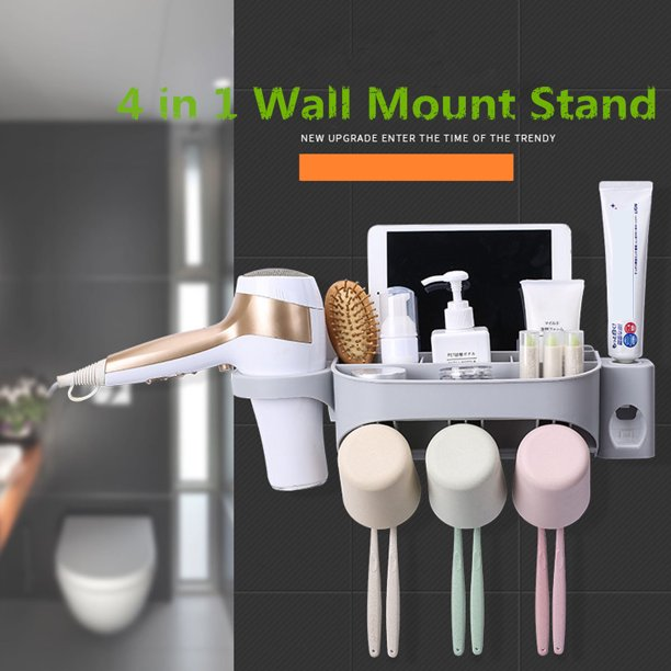 Hallolure Home Wall Mount Holder Set Handfree Toothbrush