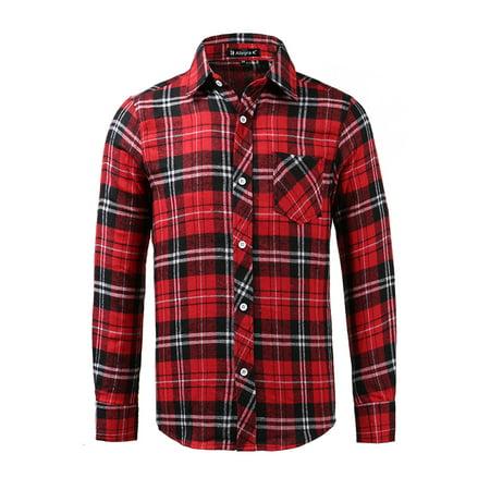 44 Pocket - Unique Bargains Men's Long Sleeve Button Down Check Pattern Pocket Slim Fit Shirts
