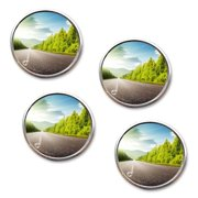 Zone Tech Rearview Blind Sport Mirrors - 4-Pack  2 Inch Stick-On Aluminum Border Thin Car Blind Sport Mirrors