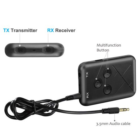 Tuscom 2in1 Wireless 4.2 Transmitter And Receiver Stereo Audio 3.5mm Adapter Music USB (4k Wireless Transmitter)