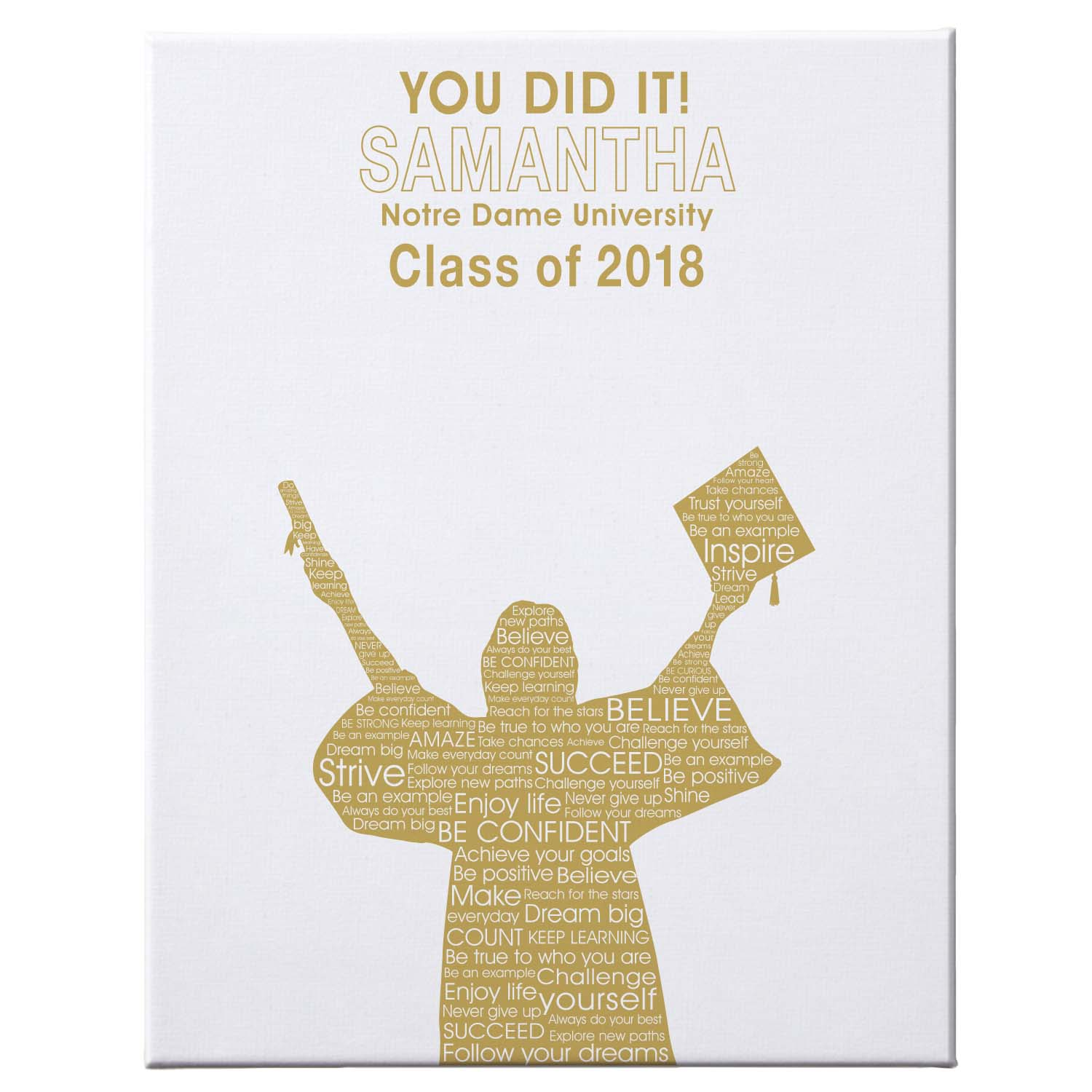 "Personalized Graduation Autograph Canvas, 11"" x 14"", Female, Available in 7 Colors"