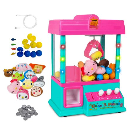 Claw Machine Game Home Arcade Prize Grabber Carnival LED Lights Animation Adjustable Sounds USB Port Cable with 10 Plush Toys and 12 filled eggs