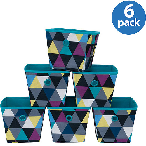 Mainstays Mini Bins, Geometric Print with Teal Grommets, Set of 6