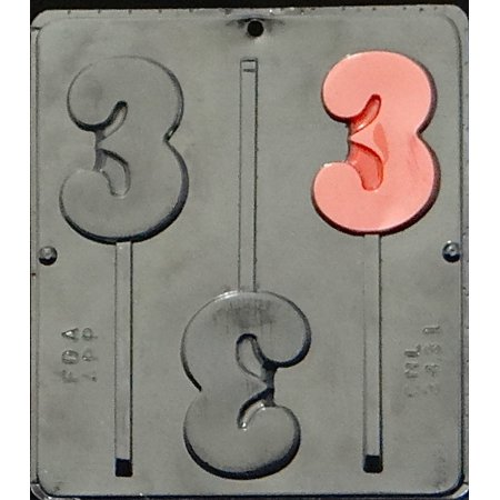 3431 Number 3 Lollipop Chocolate Candy (Numbers Chocolate Mold)