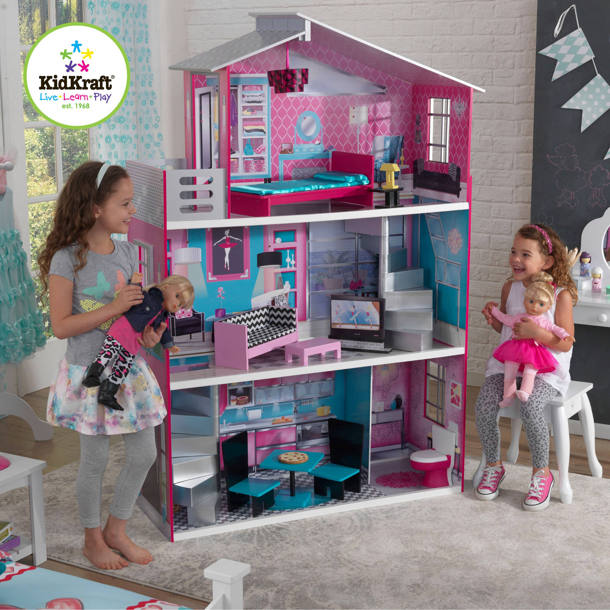 "KidKraft Breanna Wooden Dollhouse with 12 Pieces of Furniture for 18"" Dolls"
