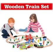 Toys 80 Pcs Deluxe Wooden Train Set with 3 Destinations Fits Thomas, Brio, Chuggington, Melissa and Doug, Imaginarium Wooden Train