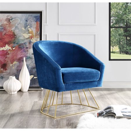 Groovy Leo Navy Velvet Accent Chair Gold Metal Base Barrel Tufted Ibusinesslaw Wood Chair Design Ideas Ibusinesslaworg