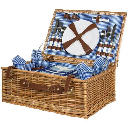 Chardonnay Picnic Basket (Best Choice Products 4 Person Wicker Picnic Basket Set )