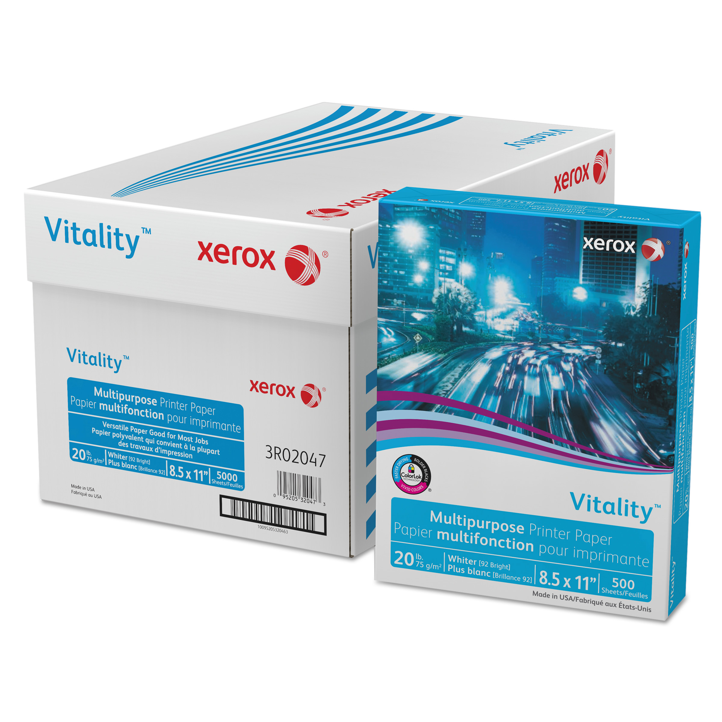 Xerox Vitality Multipurpose Printer Paper, 8 1/2 x 11, White, 5,000 Sheets/CT