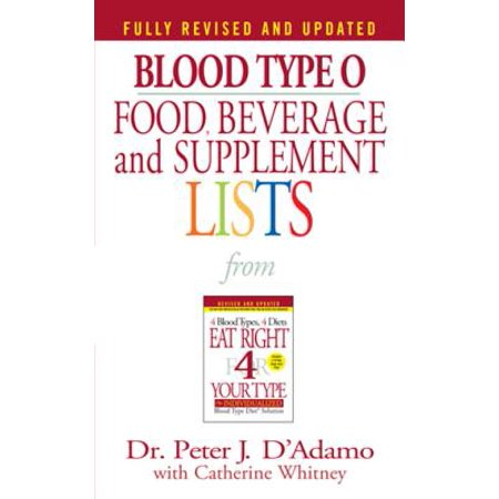Blood Type O Food, Beverage and Supplement Lists -
