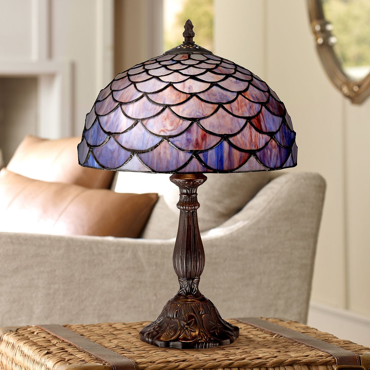 "Robert Louis Tiffany Traditional Accent Table Lamp 18"" High Deep Brown Blue Shell Tiffany Style Glass Shade for Bedroom Bedside"