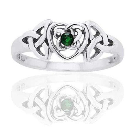 Birthstone Trinity Knot - May Birthstone Ring - Sterling Silver Simulated Emerald Glass Celtic Trinity Knot Heart