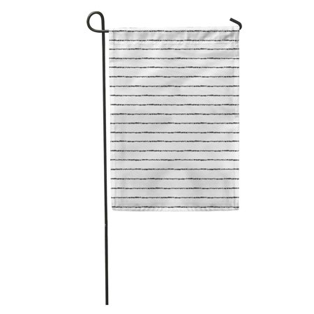 Rouge Brush - SIDONKU Watercolor Pinstripe Brush Stripes Thin Black on White Striped Monochrome Rough Garden Flag Decorative Flag House Banner 12x18 inch