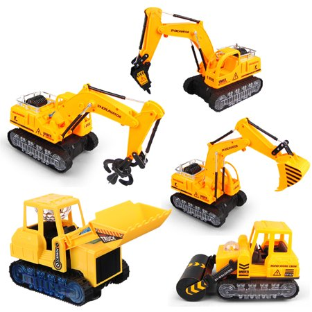 Electronic Bulldozer Engineering Excavator Roller Grappler Driller Car Playing Vehicle With Lights+Music For Children Kids Gift
