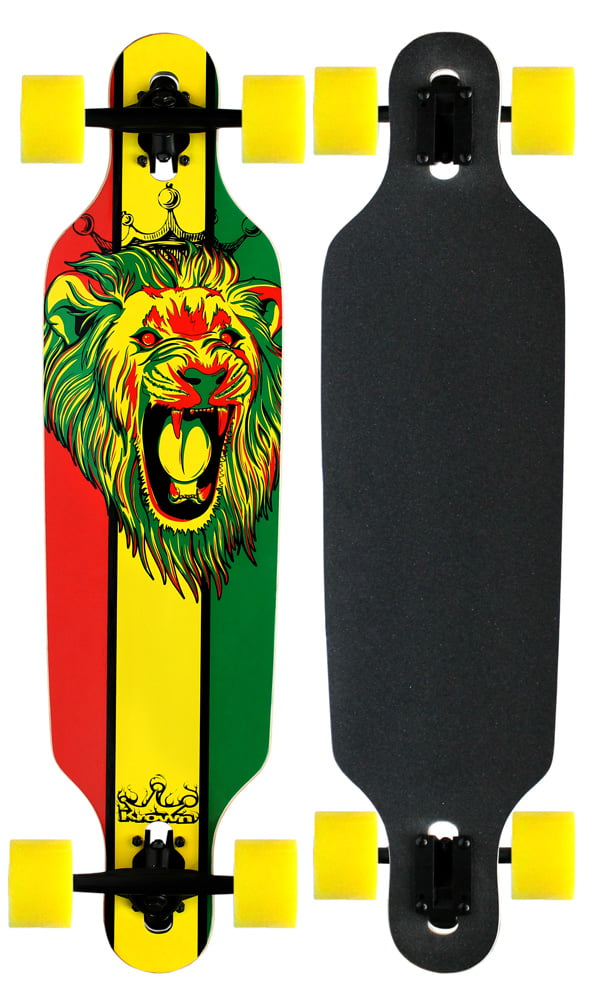 Krown Elite Longboard Rasta Lion White Drop Through by Krown