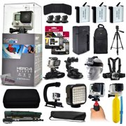 GoPro Hero 4 HERO4 Silver CHDHY-401 with 64GB Memory + 3x Batteries + Travel Charger + Backpack + 60? Tripod + Head/Chest Strap + Suction Cup + Hand Glove + LED Light + Stabilizer + Case + More!