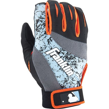 Franklin Sports Mlb 2Nd Skinz Youth Batting Gloves Blue Neon Orange S
