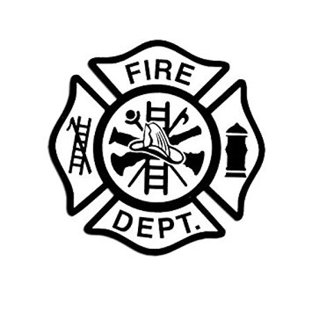 White FIRE DEPT w Black Maltese Cross Sticker Decal (firefighter fireman) 4 x 4 inch