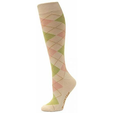 - TUFFRIDER Bamboo Argyle Socks - White/Pink/Pistachio