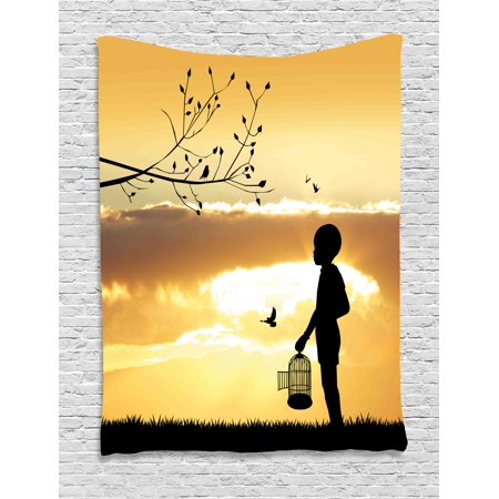 Nature Tapestry, Little Child Silhouette with a Bird Cage at Sunset in Forest Rural Trees Birds, Wall Hanging for Bedroom Living Room Dorm Decor, 60W X 80L Inches, Marigold Black, by Ambesonne