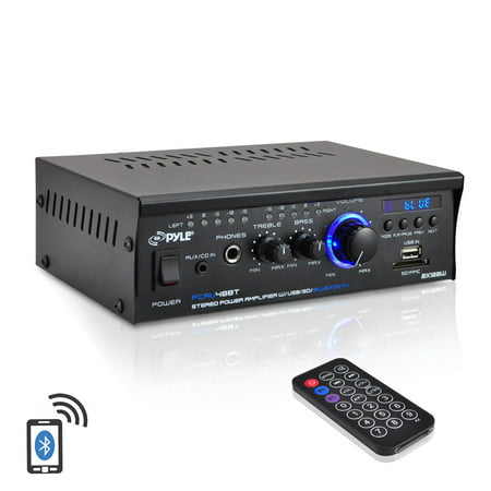 Pyle PCAU48BT - Bluetooth Mini Blue Series Stereo Power Amplifier, 2 x 120 Watt, USB Charge Port, USB/SD Memory Card Readers, RCA and AUX (3.5mm) Input Connector Jacks, Remote Control (Pre Amplifiers Home Theater)
