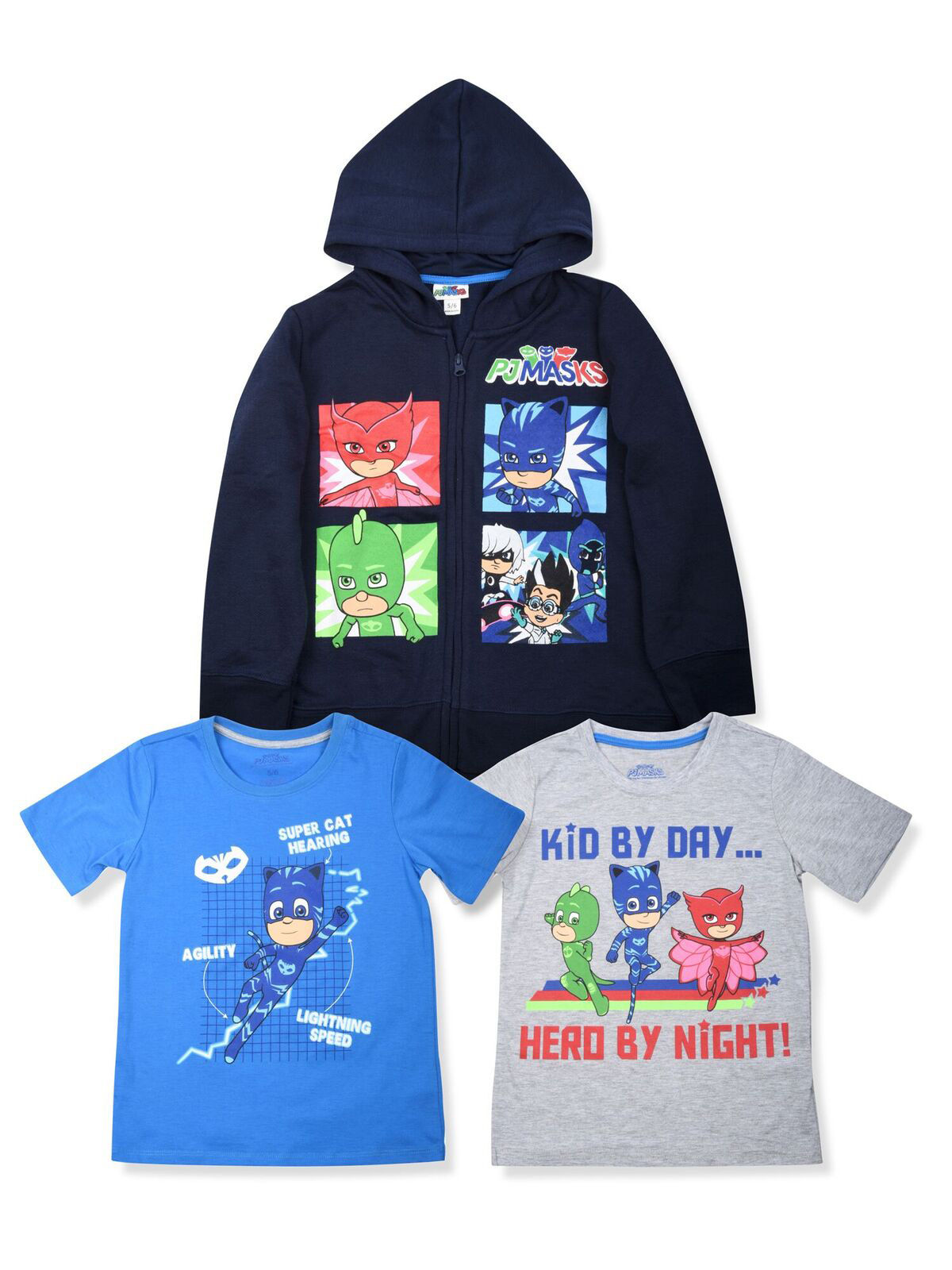 Character Grid Graphic Hoodie with Graphic Tees, 3-Piece Set (Little Boys)