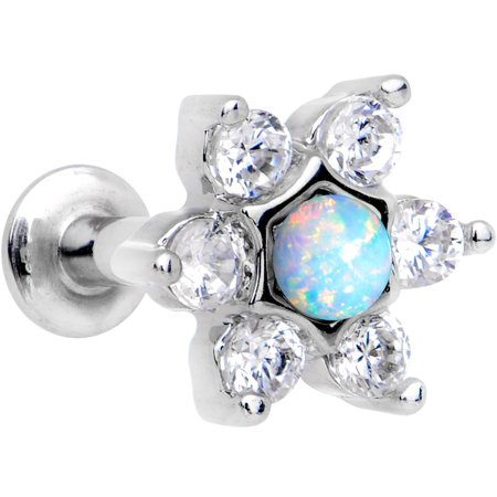 Body Candy Steel Iridescent White Accent Internally Threaded Star Flower Labret Monroe 16 Gauge 1/4""